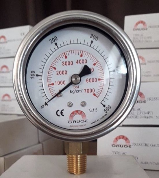 "Safeguage Pressure Gauge 0-500 kg/cm2 & 0-7000 psi Dia.2.5"" Conn.1/4""npt Bottom Type"